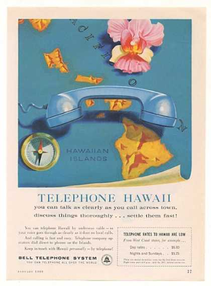 Bell Telephone System Phone Hawaii Map (1960)