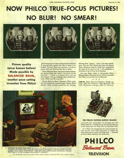 Philco's Television – NOW PHILCO TRUE-FOCUS PICTURES! NO BLUR! NO SMEAR (1951)