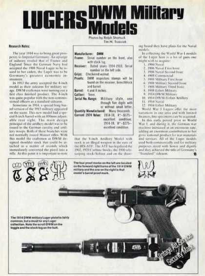 Lugers Dwm Military Models Guns Article & Pics (1974)