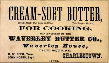 Waverly Butter Co.'s Cream -Suet Butter – Cream-Suet Butter, For Cooking (1874)