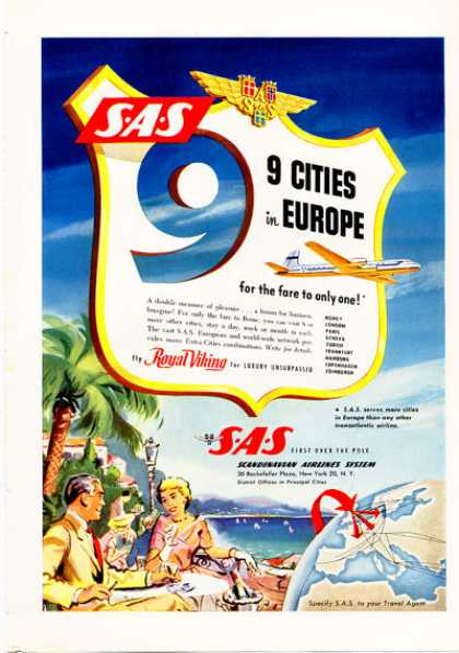 Sas Scandinavian Airlines 9 European Cities (1953)