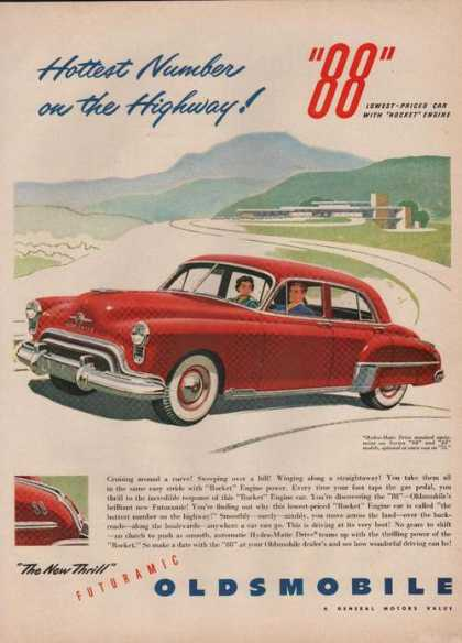 88 Car With Rocket Engine Oldsmobile Print (1949)