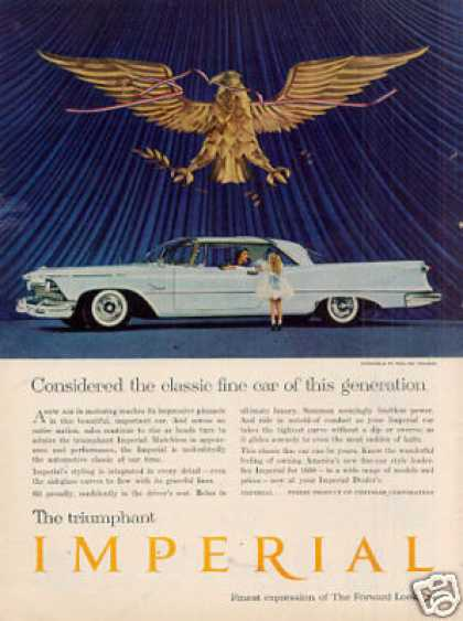 "Chrysler Imperial Car Ad ""Considered the Classic.. (1958)"