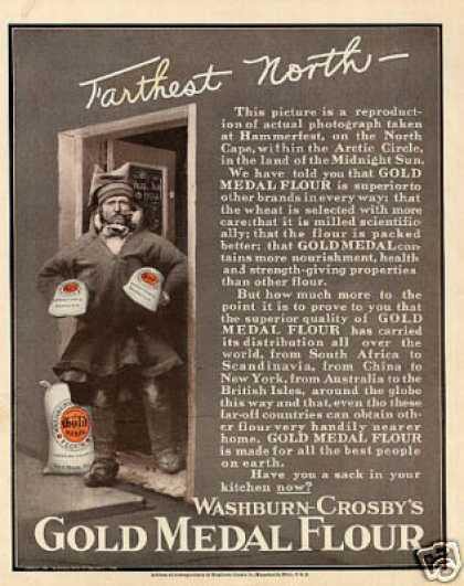 "Gold Medal Flour Color Ad ""Farthest North... (1908)"