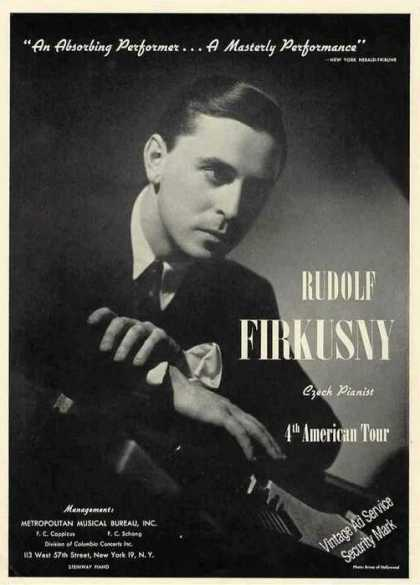 Rudolf Firkusny Photo Czech Pianist Trade (1945)