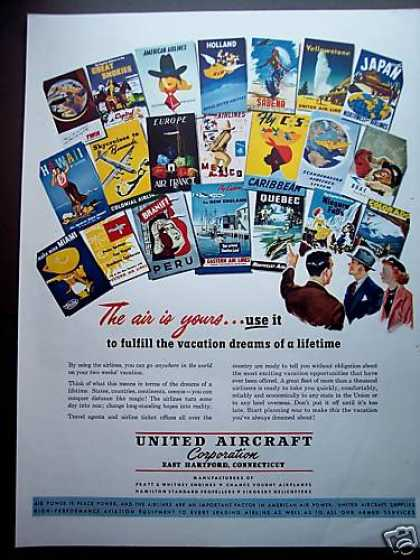 United Aircraft Vacation Travel Brochures (1949)