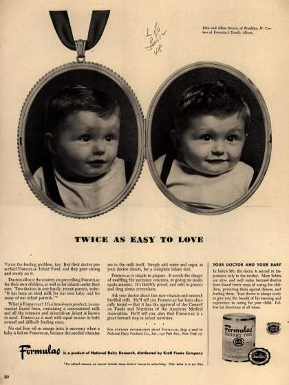 National Dairy Research's Formulac Infant Food – Twice as easy to love (1948)
