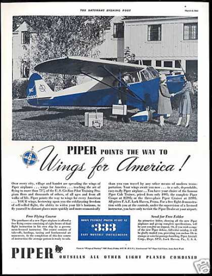 Piper Airplane Free Flying Course Vintage Photo (1941)
