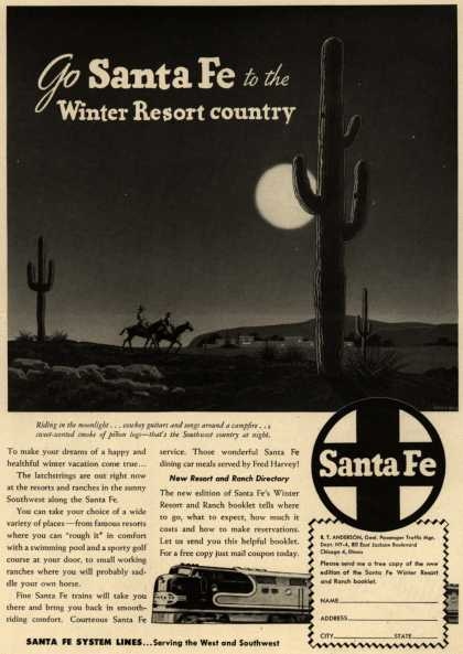 Santa Fe System Line's Southwest – Go Santa Fe to the Winter Resort country (1948)