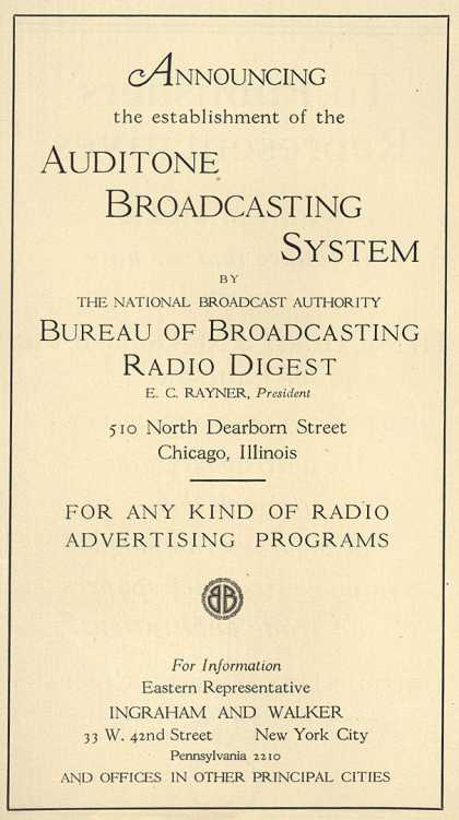 Bureau of Broadcasting Radio Digest's radio advertising programs – Announcing the establishment of the Auditone Broadcasting System (1929)