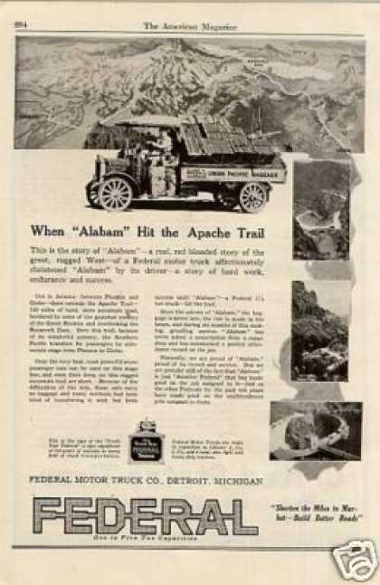 "Federal Truck Ad ""When Alabam Hit... (1920)"