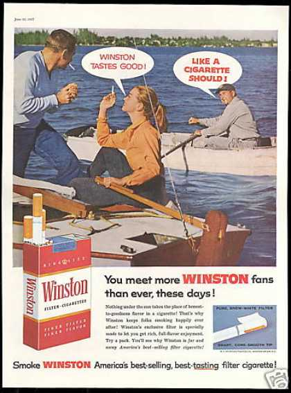 Winston Cigarette Taste Good Boats Lake Photo (1957)