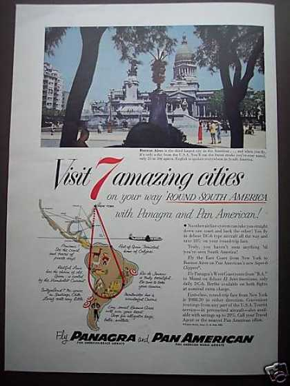 Pan Am Airline S America 7 City Travel Photo (1953)