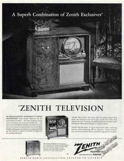 Zenith Television Console Round Picture Tube (1949)