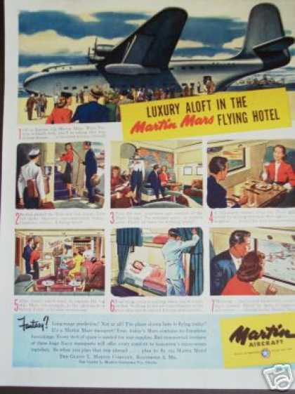 Martin Aircraft Mars Flying Hotel Airplane Art (1945)