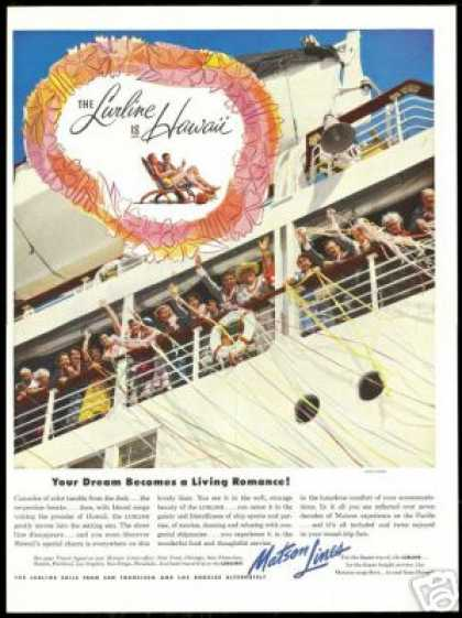 Matson Line Lurline Cruise Ship Hawaii (1953)