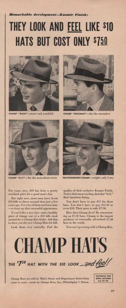 Champ Mens Dress Hats (1949)