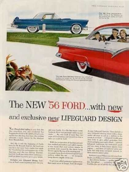 Ford Fairlane Victoria & Thunderbird Car Ad 2 Page (1956)