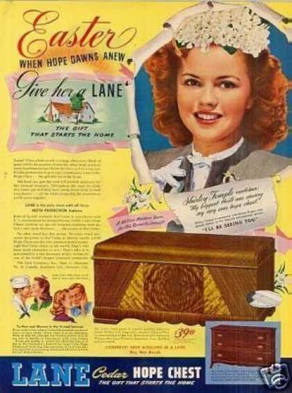Lane Cedar Hope Chest Ad Shirley Temple (1945)