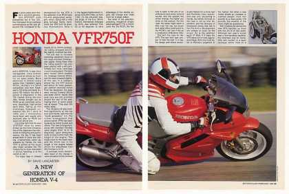 Honda VFR750F Motorcycle 6-Page Photo Article (1990)