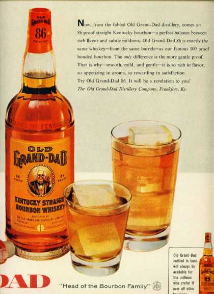 Old Grand Dad Bourbon Whiskey C 2 Pg Unattached (1960)