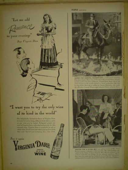 Virginia Dare Wine. Add romance to your evenings (1946)
