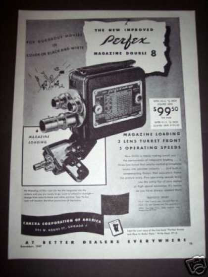 Original Perfex 8mm 3 Lens Movie Camera (1947)