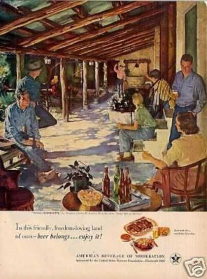 "Beer Belongs Ad ""Texas Hospitality"" Crockwell Art (1951)"