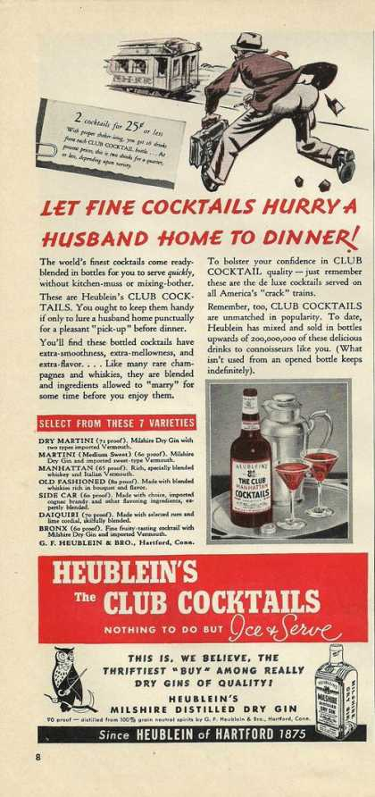 Heubleins Club Cocktail (1939)