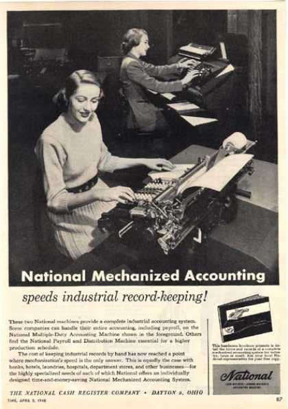 "National (""National Mechanized Accounting speeds industrial record-keeping!"") (1948)"