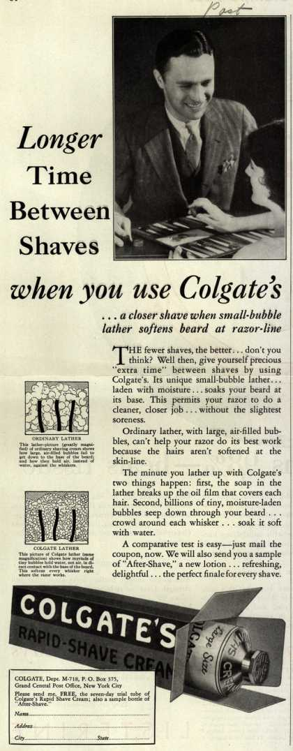 Colgate & Company's Colgate's Rapid-Shave Cream – Longer Time Between Shaves when you use Colgate's (1930)