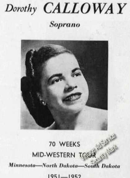 Dorothy Calloway Photo Soprano Advertising (1950)