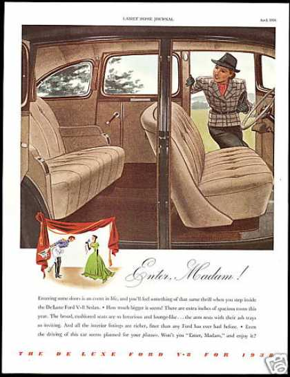 Ford De Luxe Sedan Car Interior Print Art (1938)