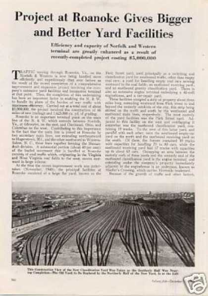 """Project at Roanoke...yard Facilities"" Article/n&w (1943)"