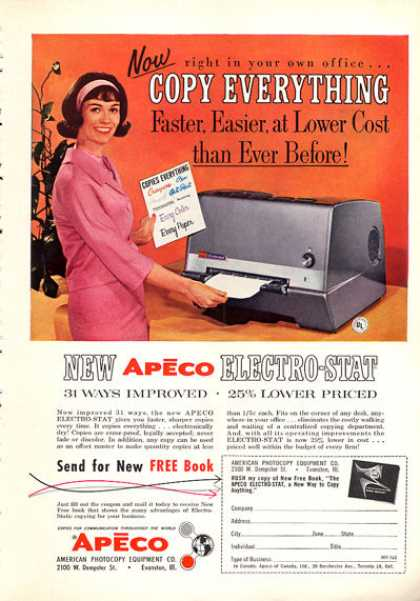 Apeco Electro Stat Photocopy Copy Machine (1963)