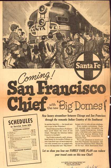 "Santa Fe Railway – Coming! San Francisco Chief with the new ""Big Domes!"" (1954)"