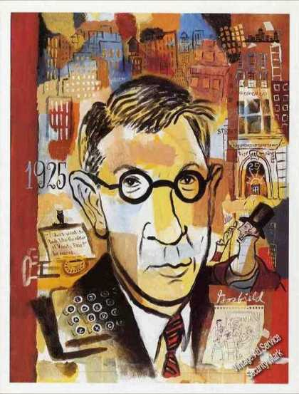 Harold Ross Print Art By Josh Gosfield & Article (1992)