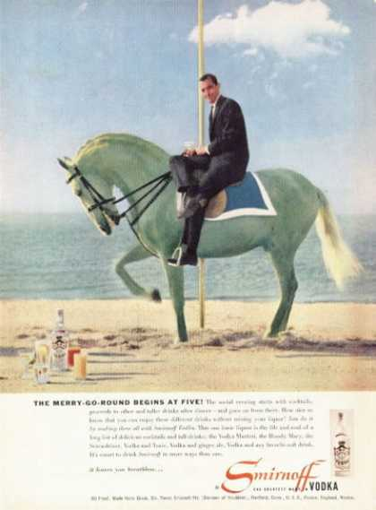 Smirnoff Vodka Merry Go Round Green Horse (1955)