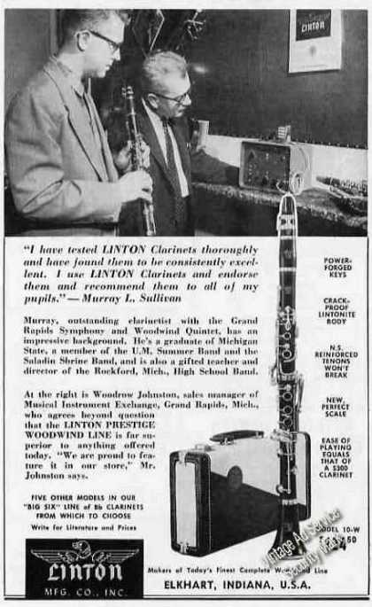 Linton Clarinets Murray Sullivan Photo (1958)
