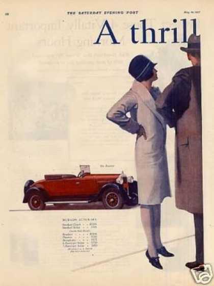 Hudson Roadster & Four-door Sedan Color Ad 2 Page (1927)