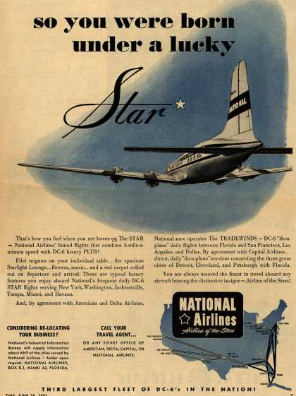 National Airline&#8217;s Star and Tradewinds &#8211; so you were born under a lucky Star (1951)