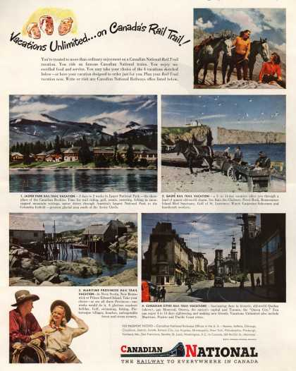 Canadian National Railways – Vacations Unlimited... on Canada's Rail Trail (1947)