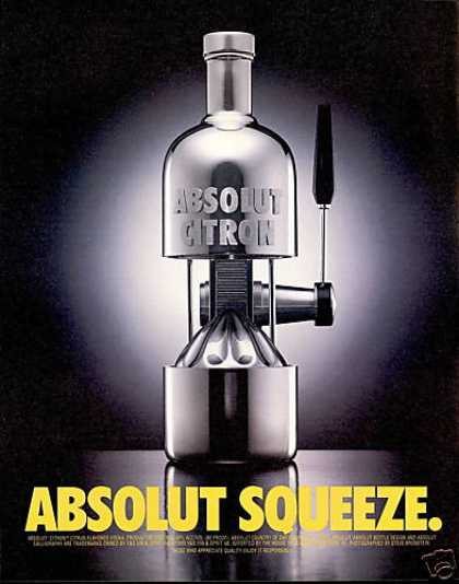Absolut Squeeze Vodka Bottle Photo (1997)