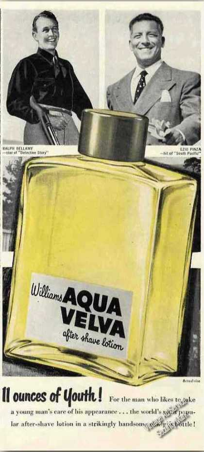 Aqua Velva Ralph Bellamy & Ezio Pinza Endorsements (1949)