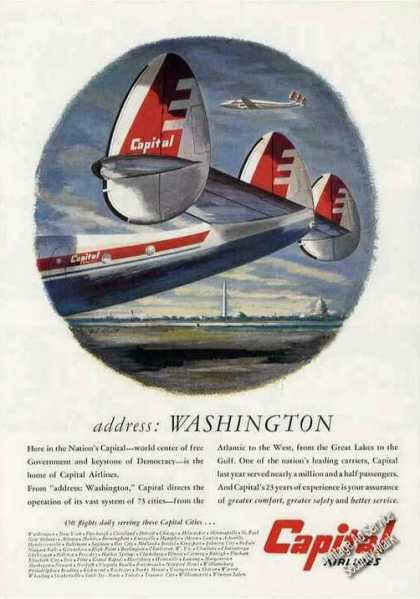 Capital Airlines Constellation Art (1950)