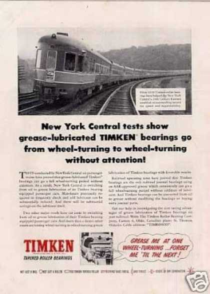 Timken Ad New York Central 20th Century Limited (1952)