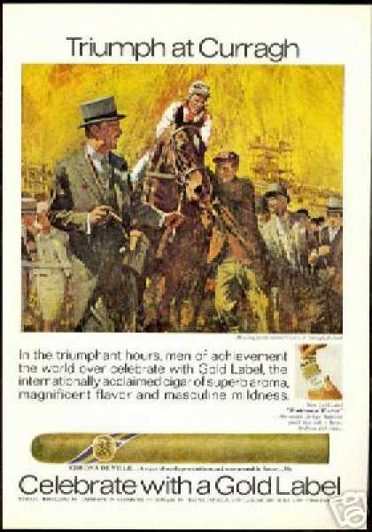Horse Race Curragh Ireland Art Gold Label Cigar (1970)