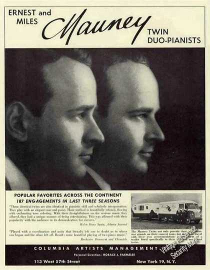 Ernest & Miles Mauney Twin Duo-pianists Trade (1956)