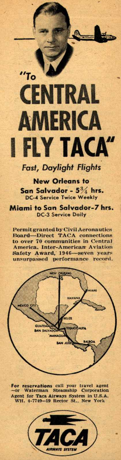 "TACA Airways System's Taca Airways System – ""To Central America I Fly Taca"" (1947)"