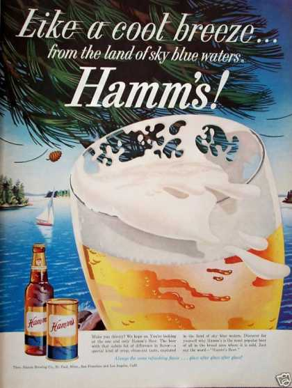 Hamms Beer Cool Breeze Sailboat Lake Pine Cone (1959)